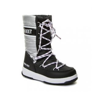 Moon Boot We Quilted Met Waterproof Black-Silver Çocuk Kar Botu
