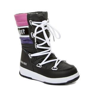 Moon Boot We Quılted Waterproof Black - Purple-Orchıde Çocuk Kar Botu